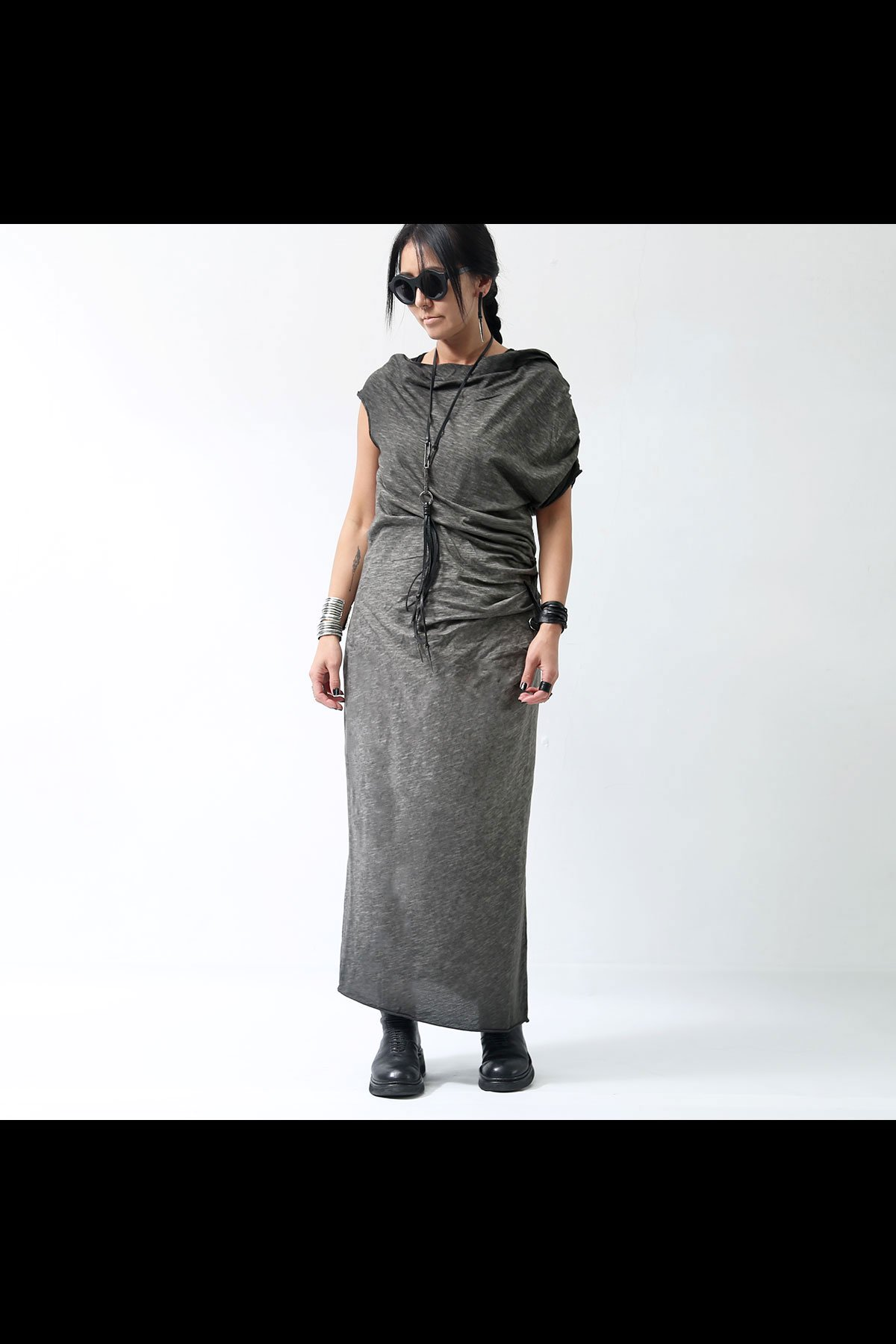 NOSTRASANTISSIMA DYED COTTON LONG DRESS D09_GREY