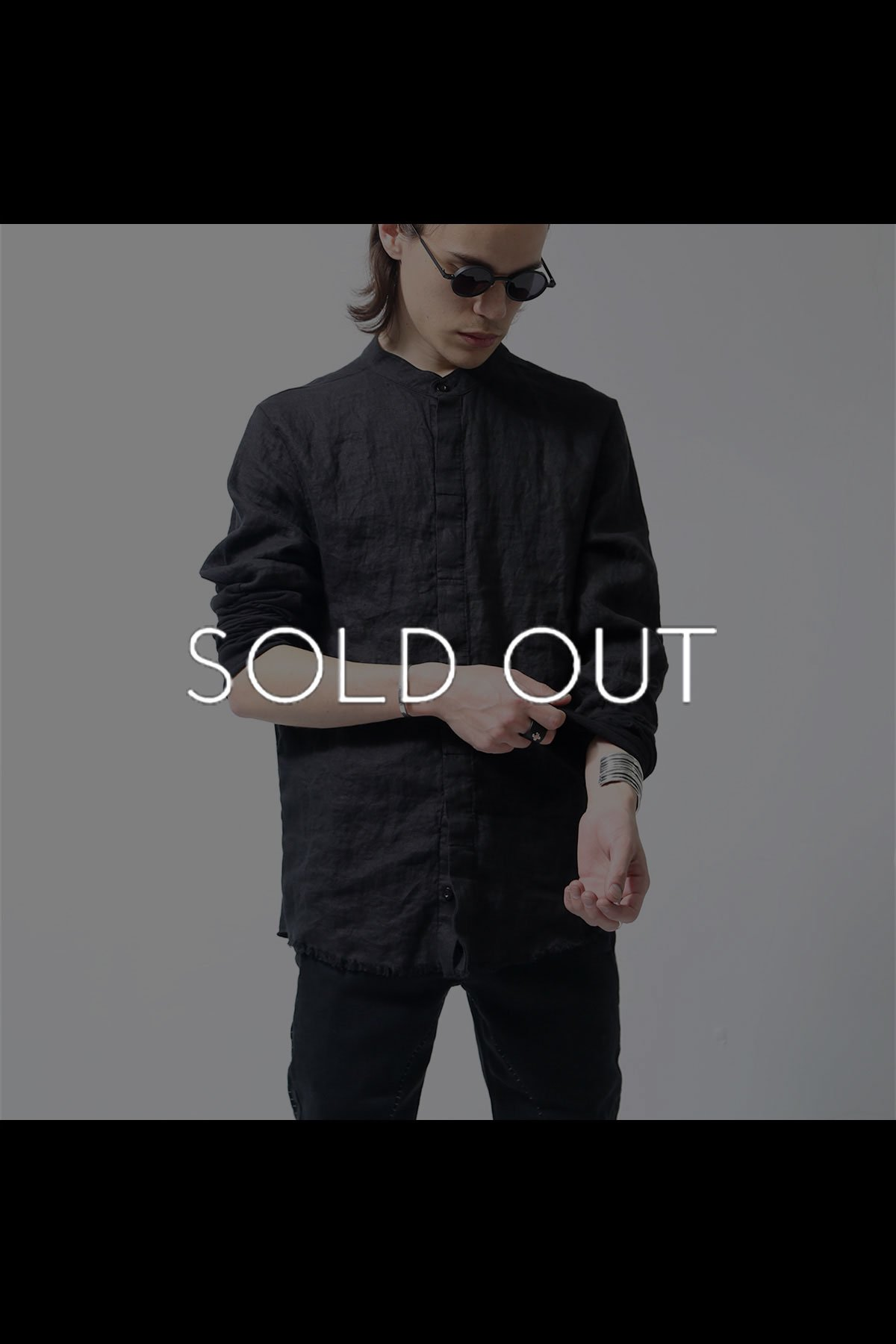 LINEN&COTTON SWITCHING SHIRT MH107_BLACK