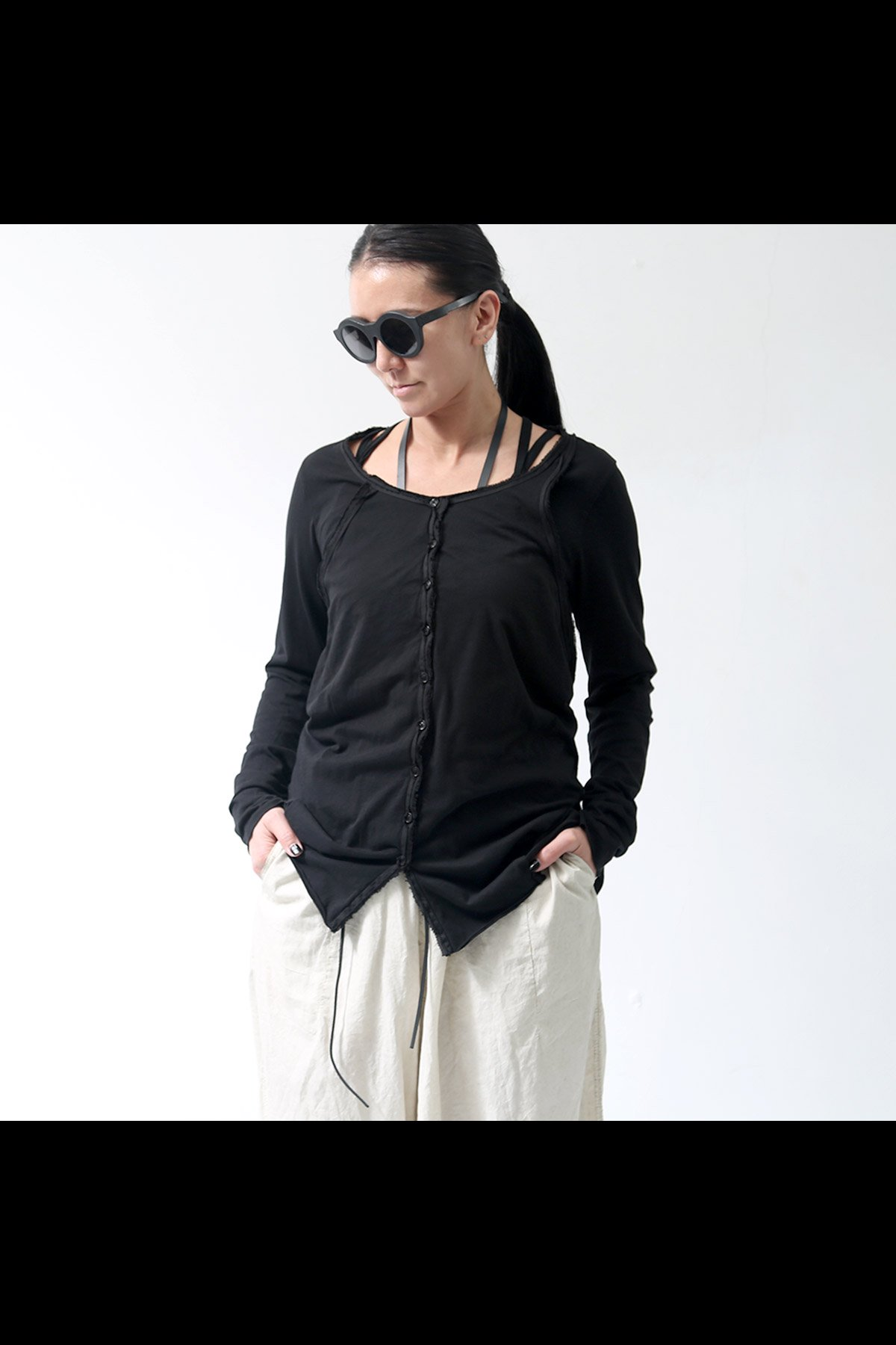 W LAYERED CARDIGAN TOPS 257 1107_BLACK