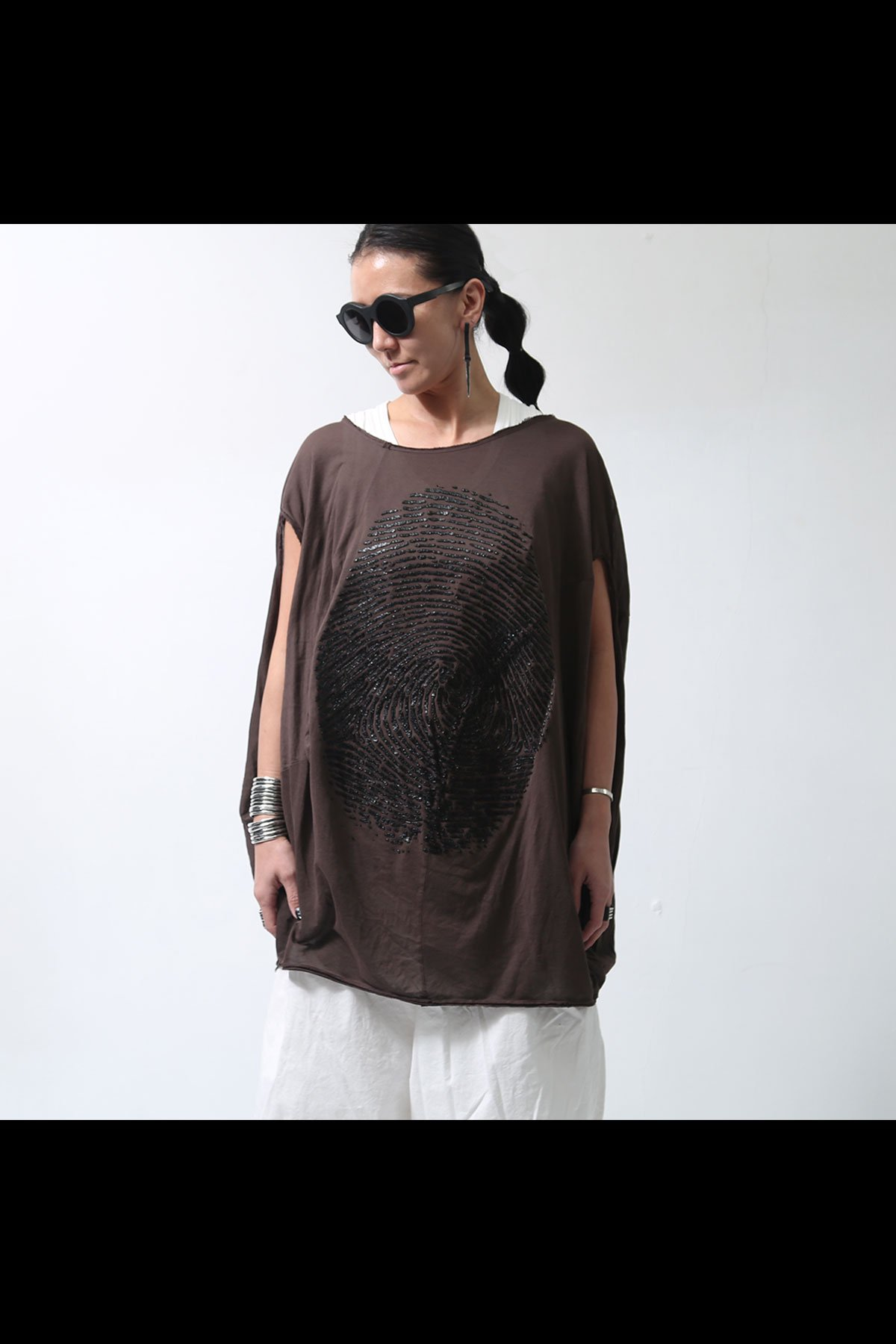 BACK DRAPE FINGERPRINT TOP 257 0509_RUST(BROWN)