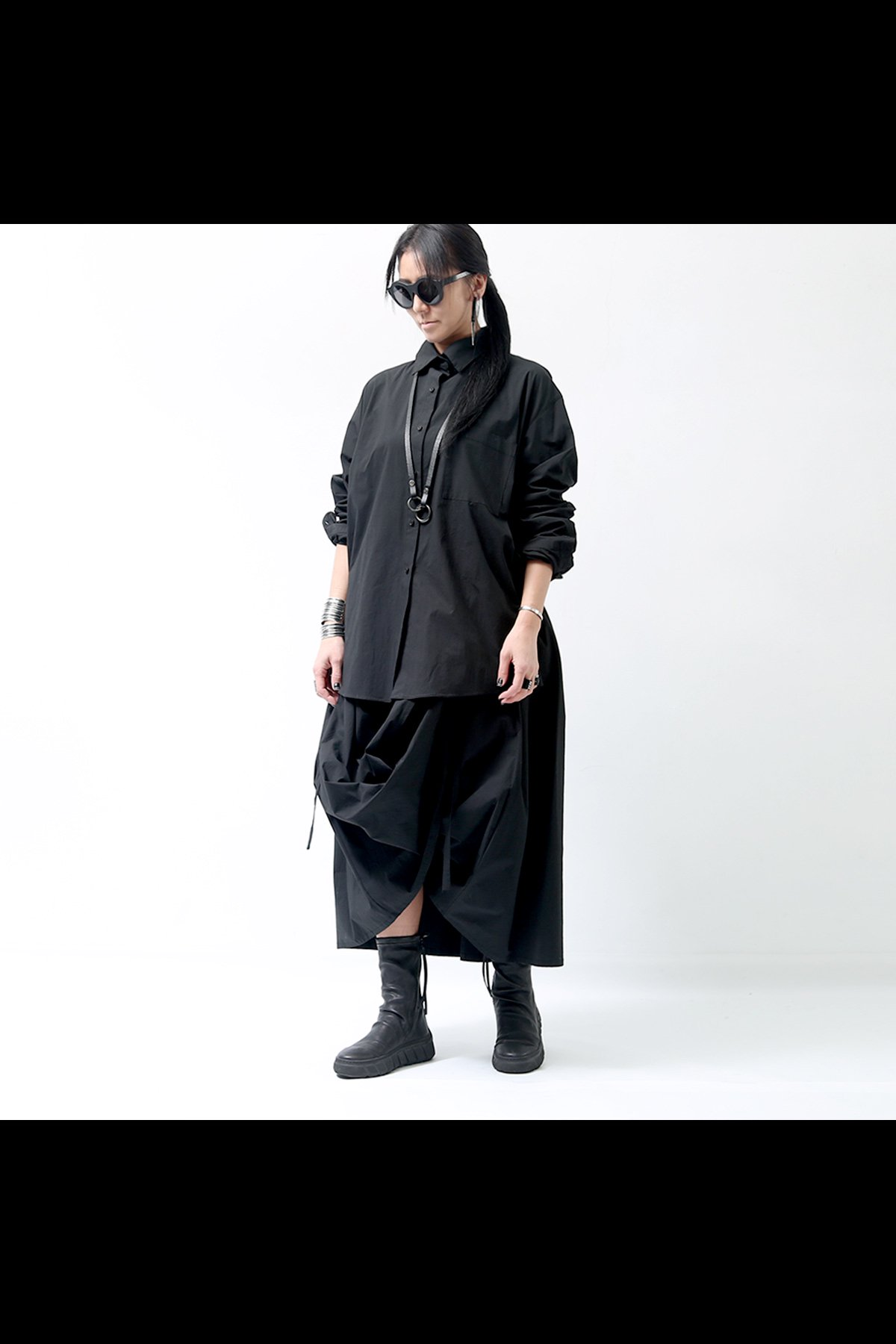 MULTIWAY COTTON SHIRT DRESS GALS-15_BLACK