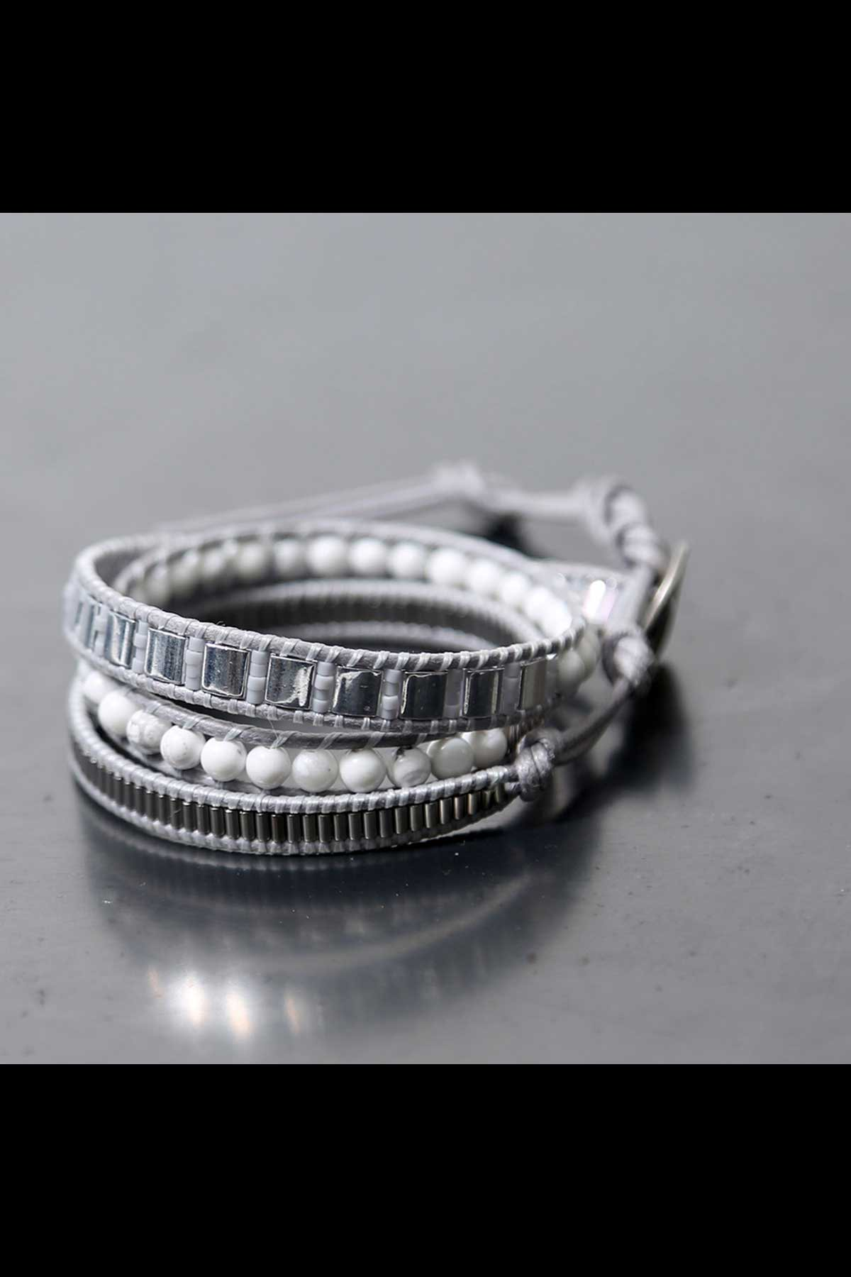 MIX MATERIAL LADDER BRACELET_GREY×WHITE