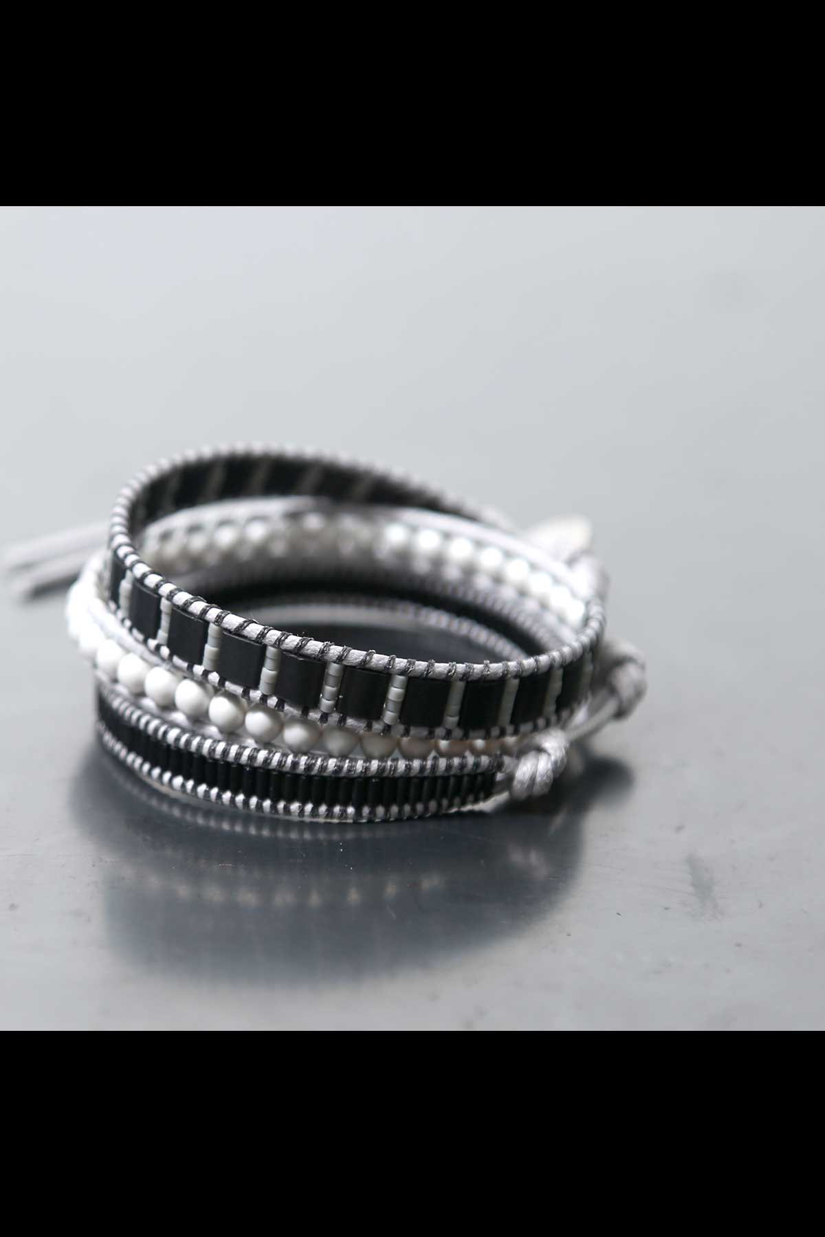 MIX MATERIAL LADDER BRACELET_GREY×BLACK