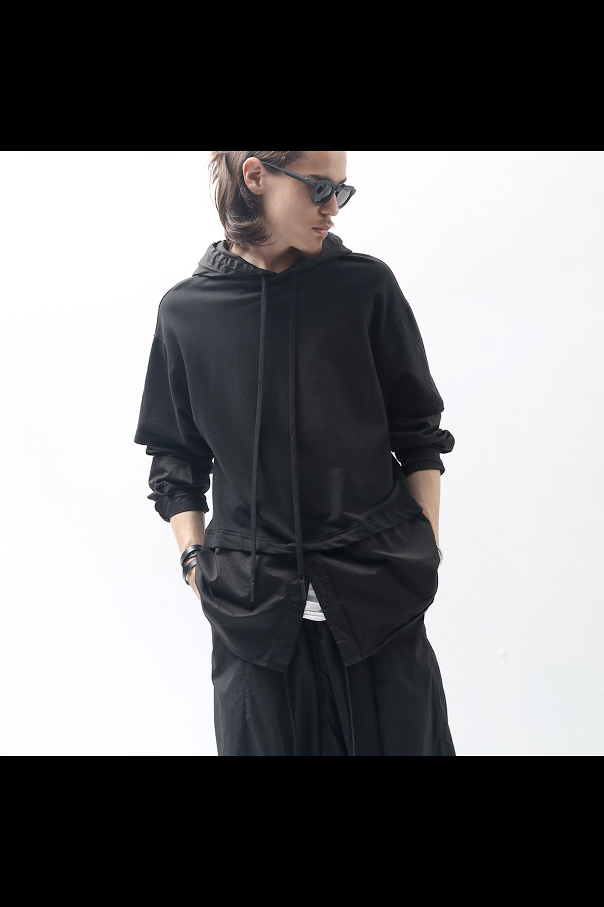 LAYERED SHIRT HOODIE 19MVAF46_BLACK