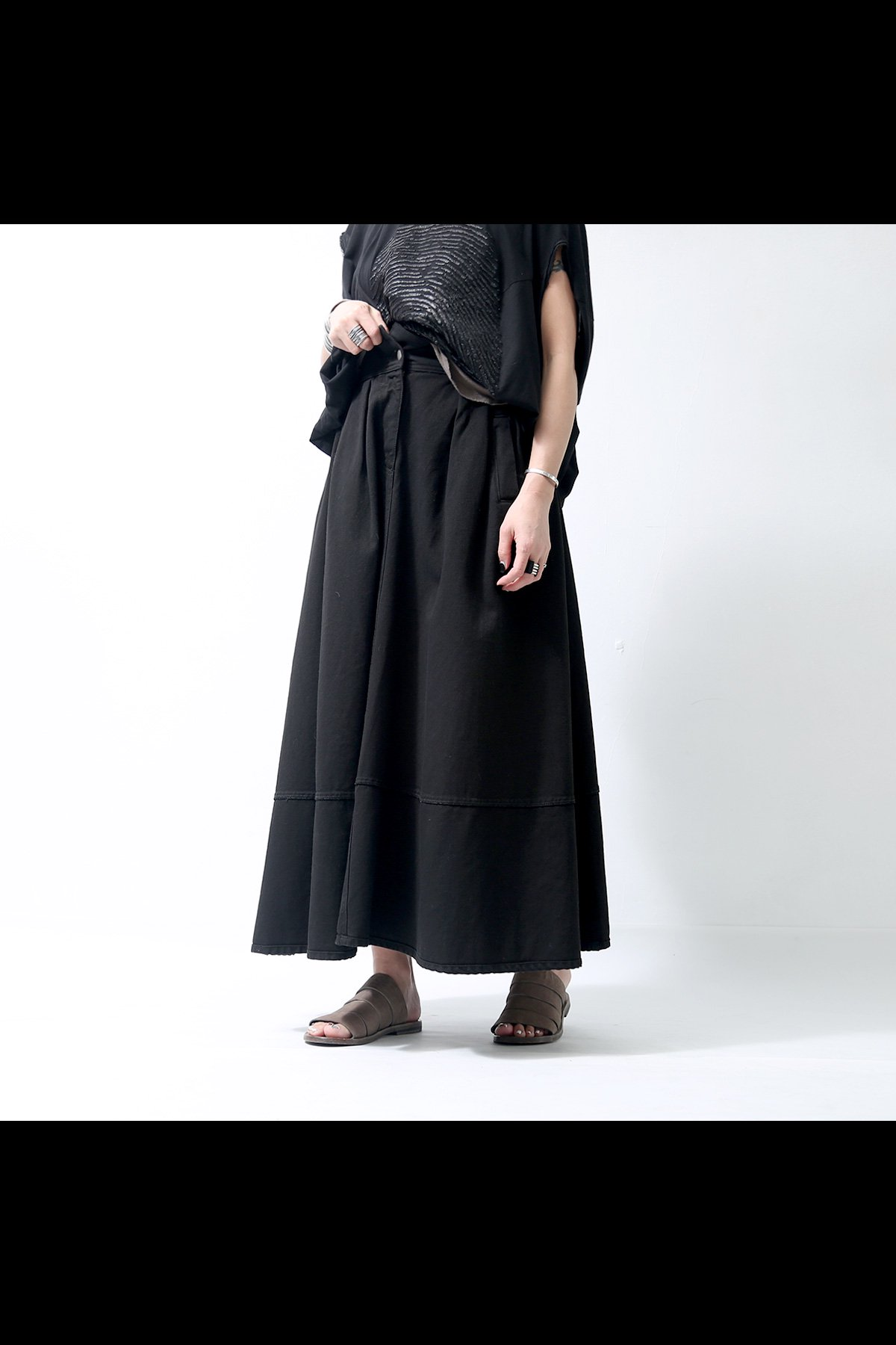FLARE HIGH WAIST DENIM SKIRT 18WZUC03_BLACK