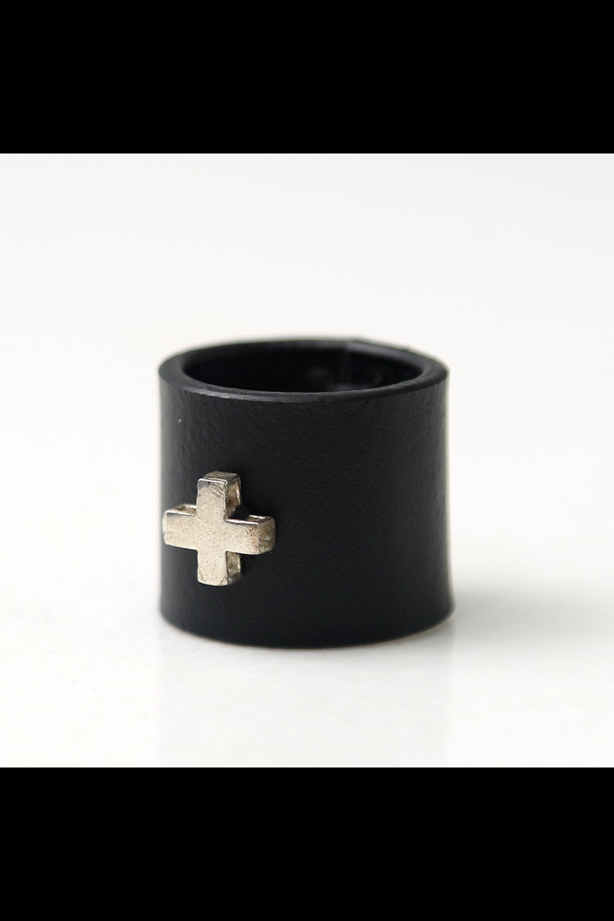 CROSS SILVER925 LEATHER RING