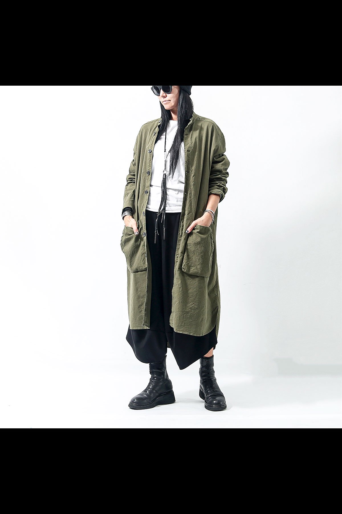 LONG CARDIGAN JACKET BAR72_MILITARY