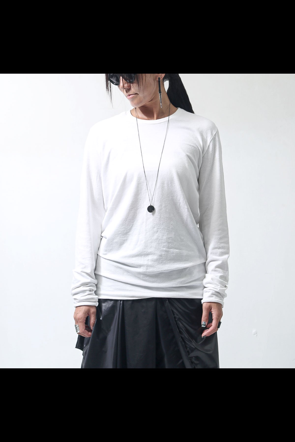 UNISEX OVERLOCK STITCH LONG TEE MTS508_WHITE