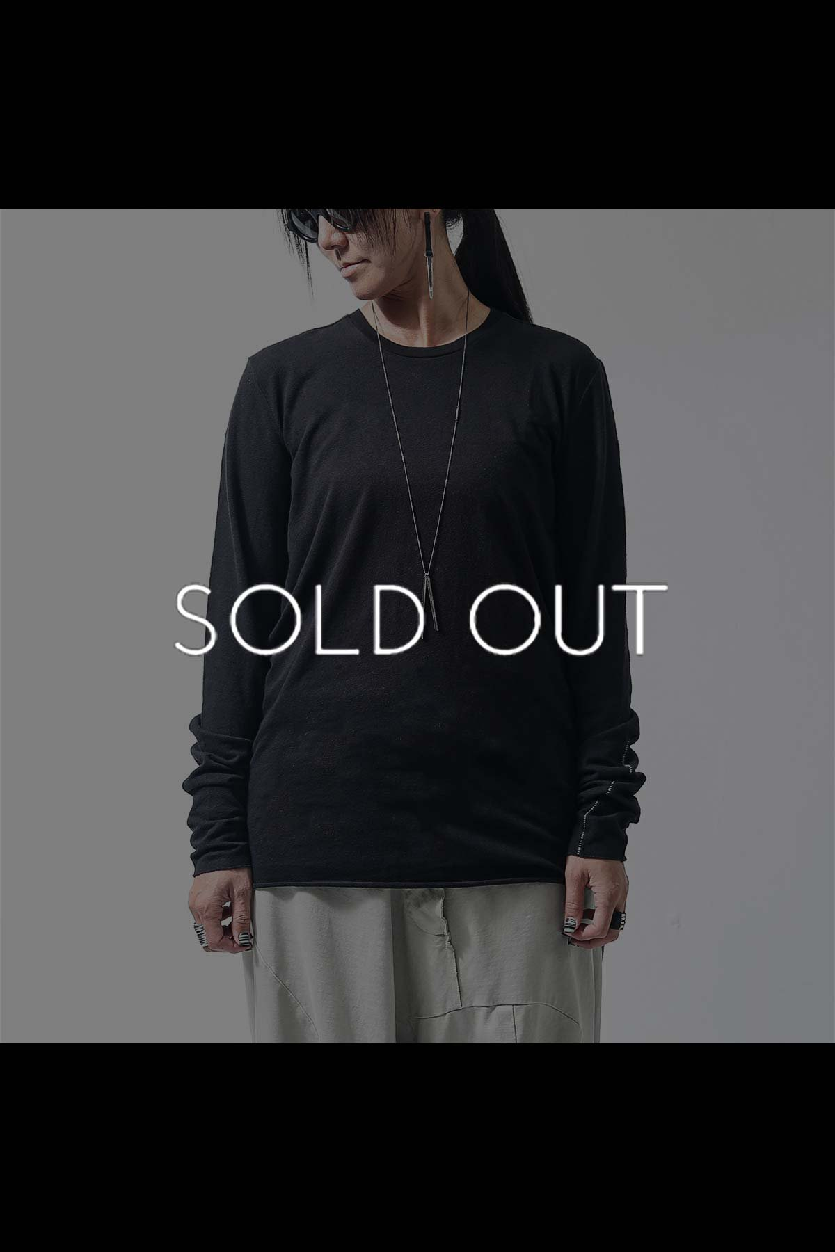 UNISEX OVERLOCK STITCH LONG TEE MTS508_BLACK