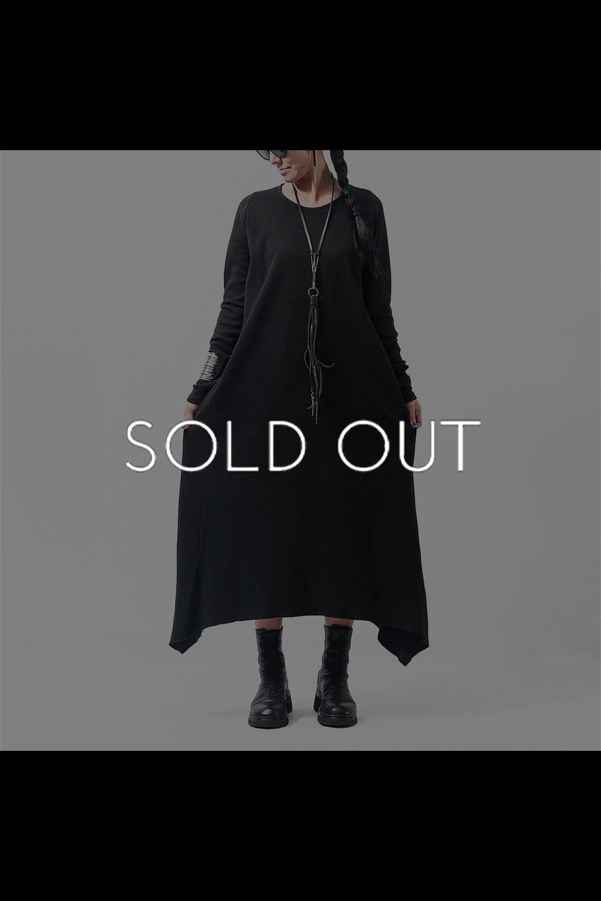 ASYMMETRY SWEAT LONG DRESS  168SD_BLACK