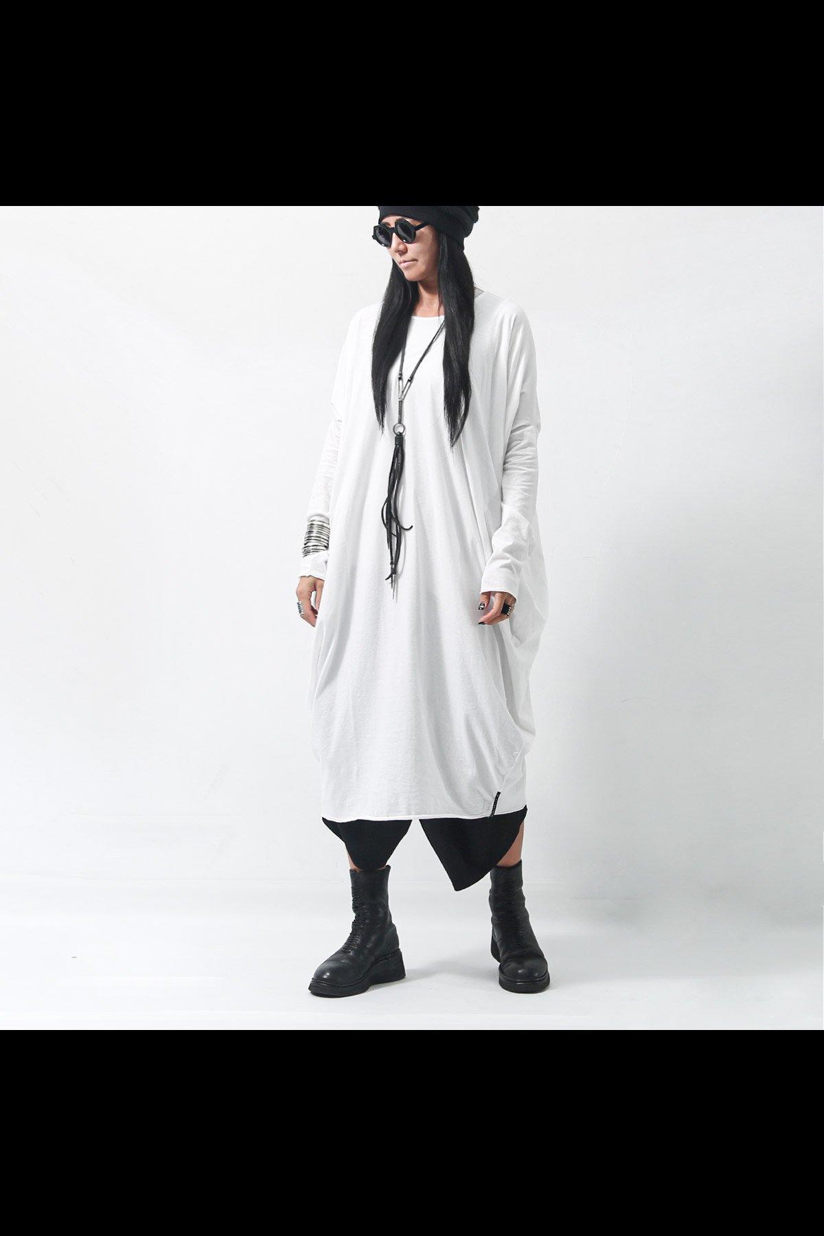 SIDE DRAPE COTTON DRESS  167RO_WHITE