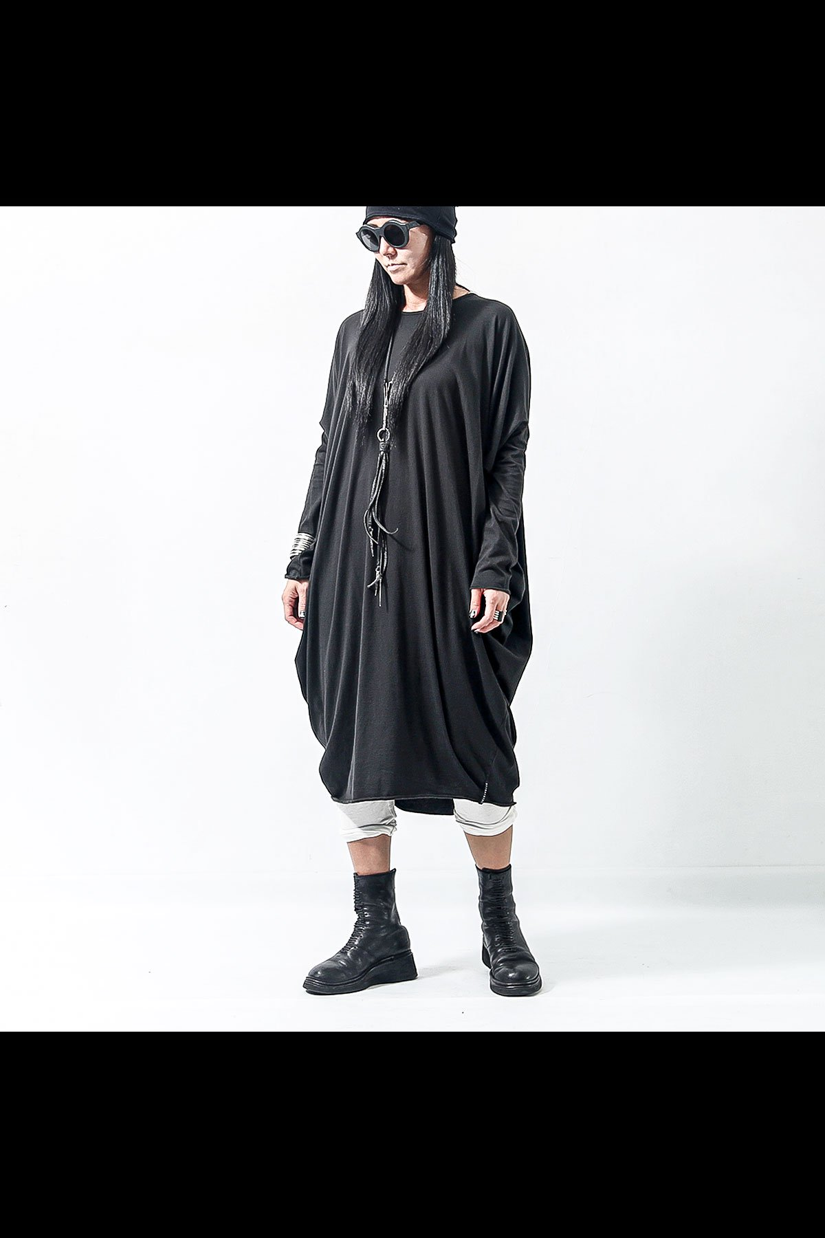 SIDE DRAPE COTTON DRESS  167RO_BLACK