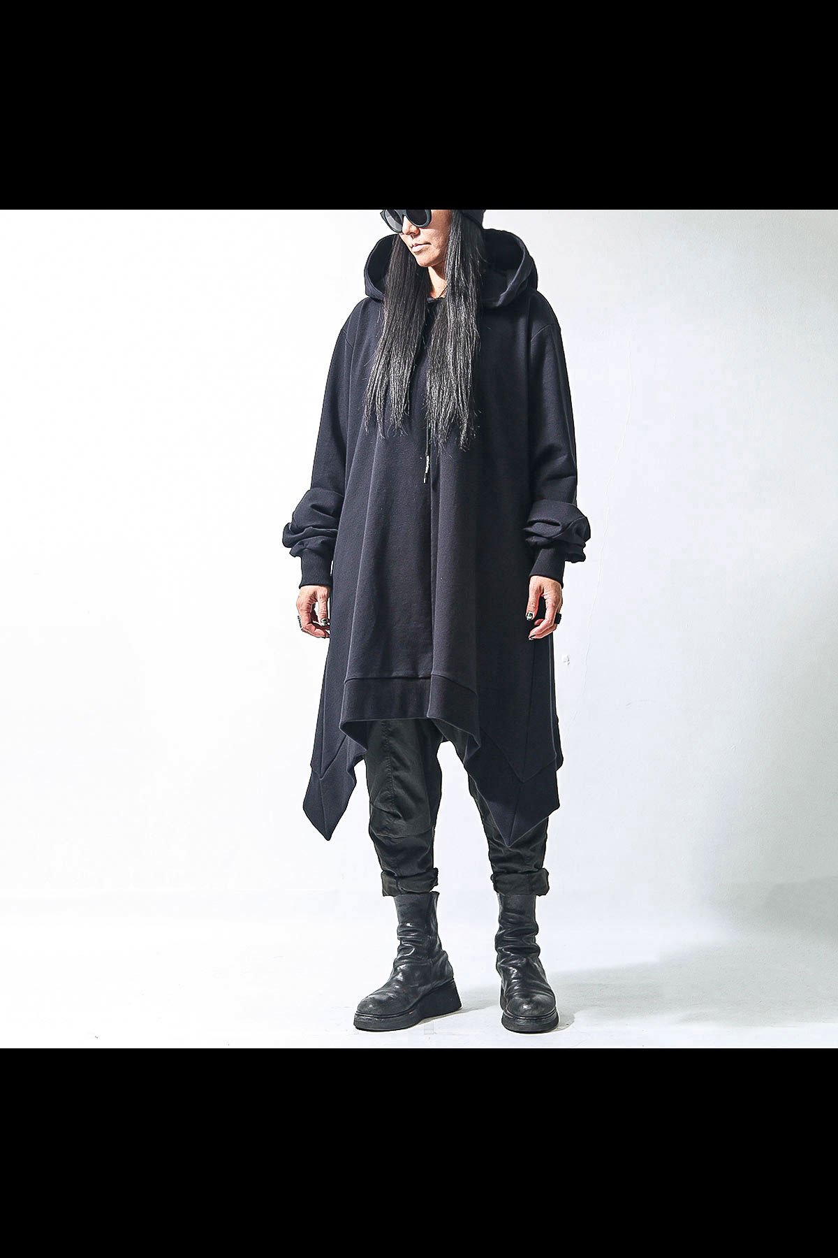 ASYMMETRY LONG SWEART HOODIE F42_BLACK
