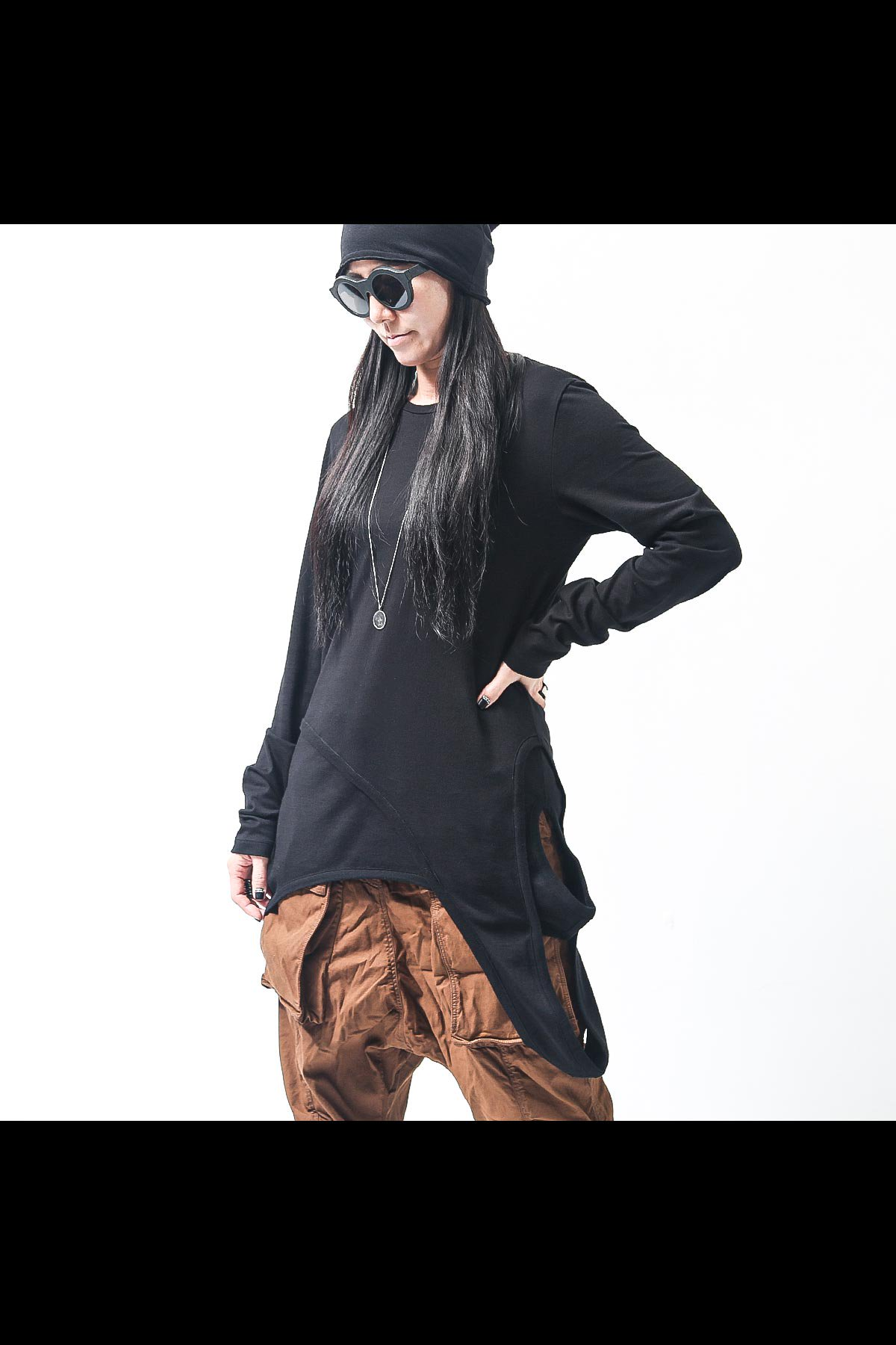 UNISEX DESIGNED HEM LONG SLEEVE TEE 137QK10_BLACK