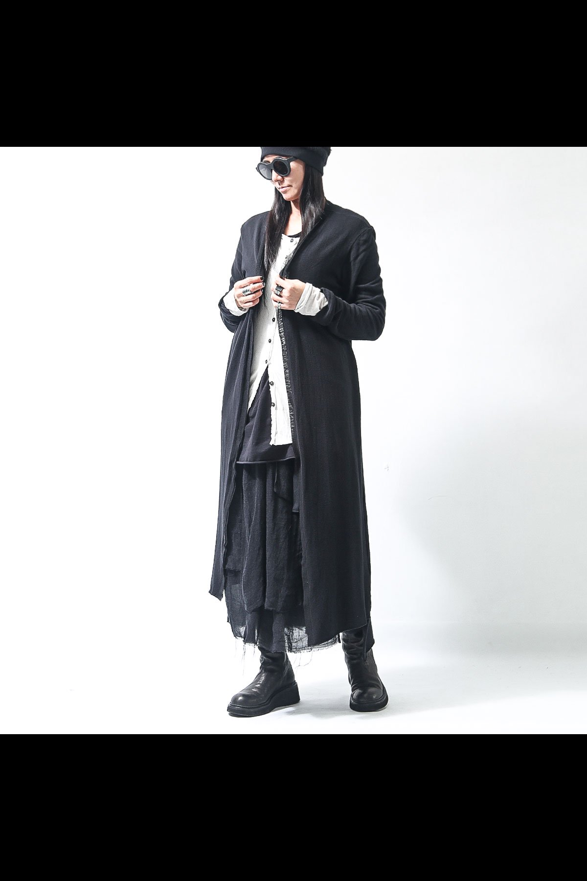 COTTON KNIT LONG CARDIGAN SB829_BLACK