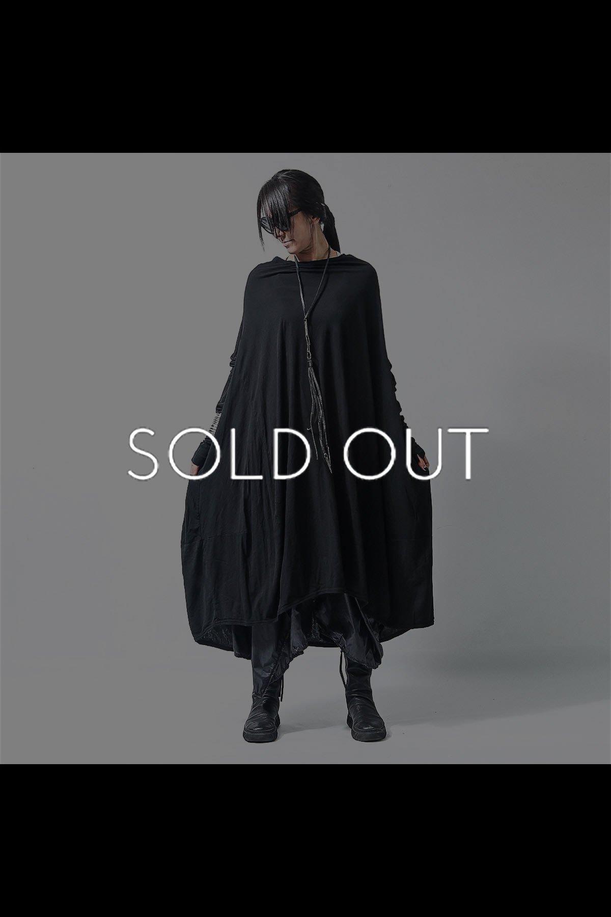 DROP SHOULDER DRAPE DRESS 252 0901_BLACK
