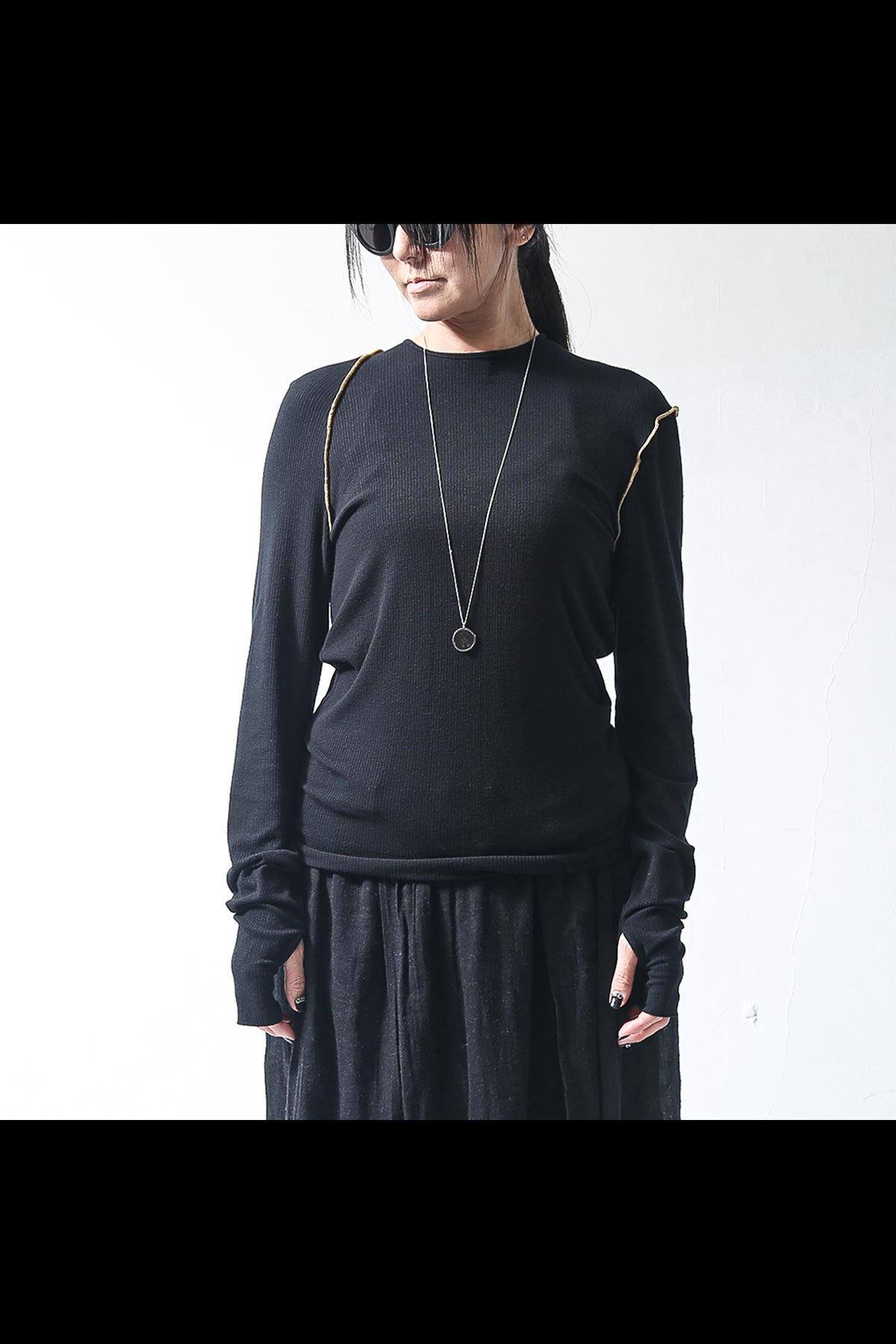 CREW NECK KNIT TOPS TS08_BLACK