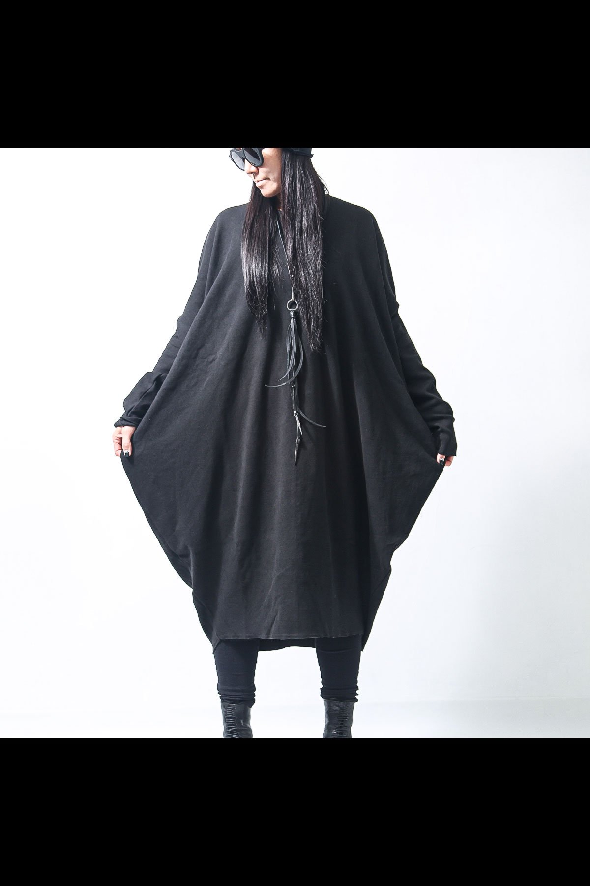 SIDE DRAPE SWEAT DRESS  167SD_BLACK