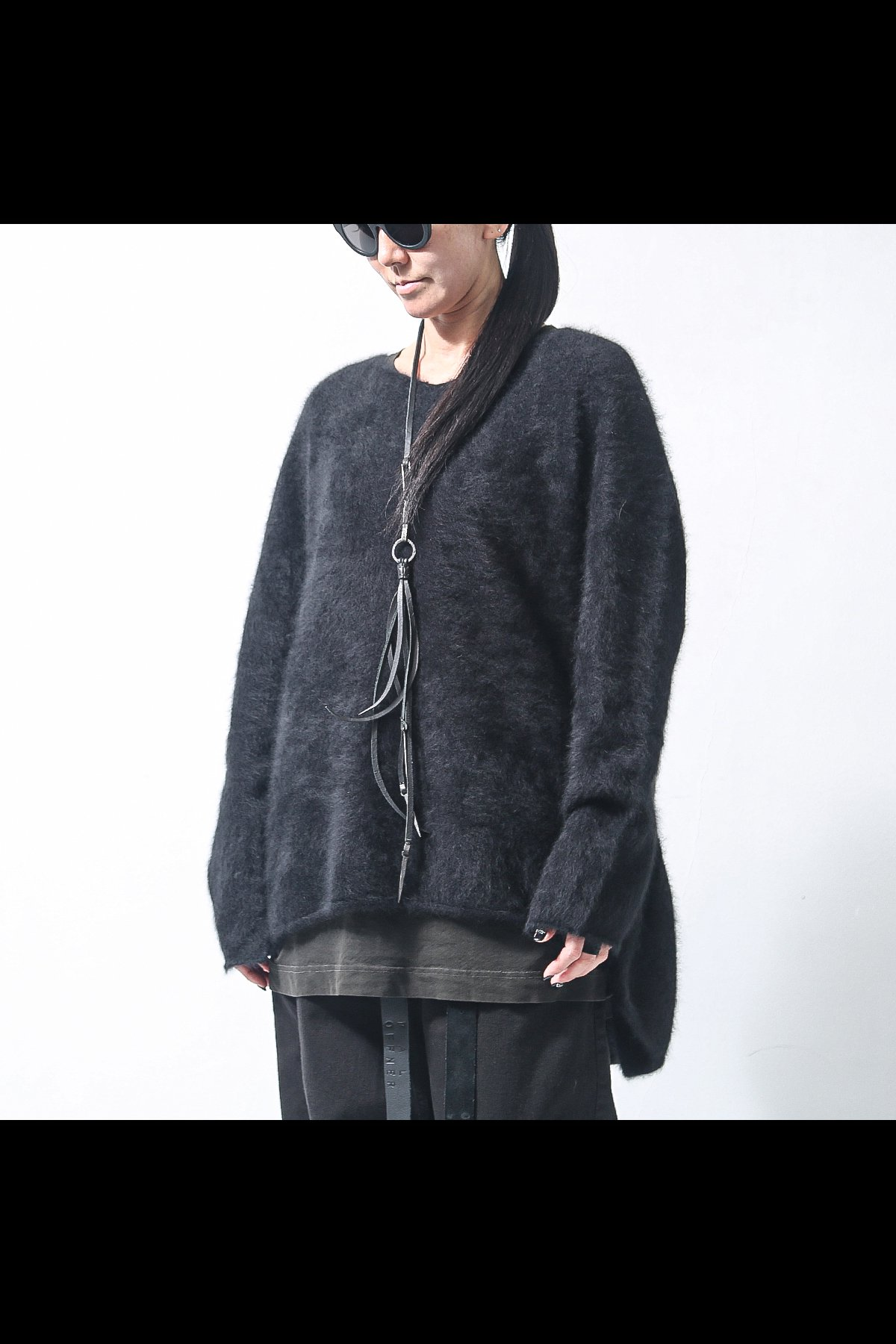 RACOON V NECK MID KNIT 141 7001_BLACK
