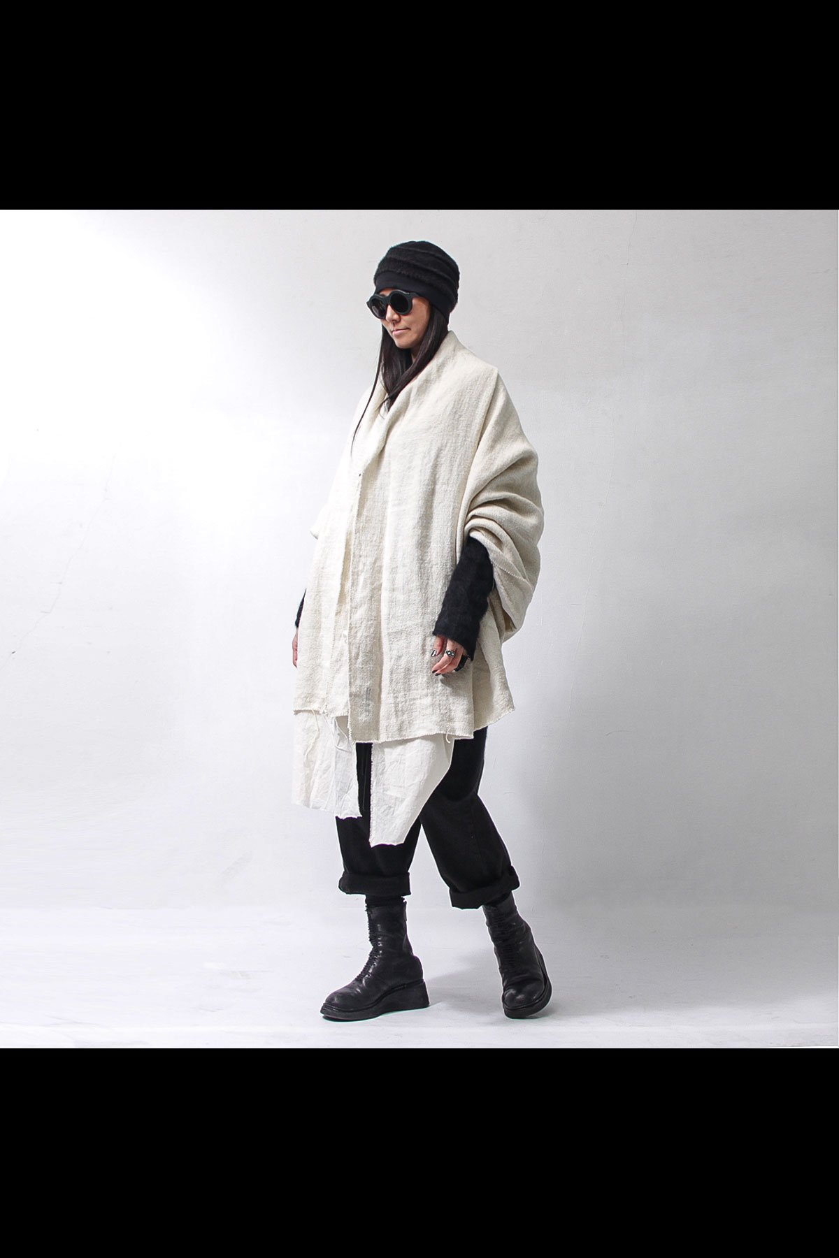 COTTON/LINEN LAYERED STOLE 133QG01_OFF WHITE