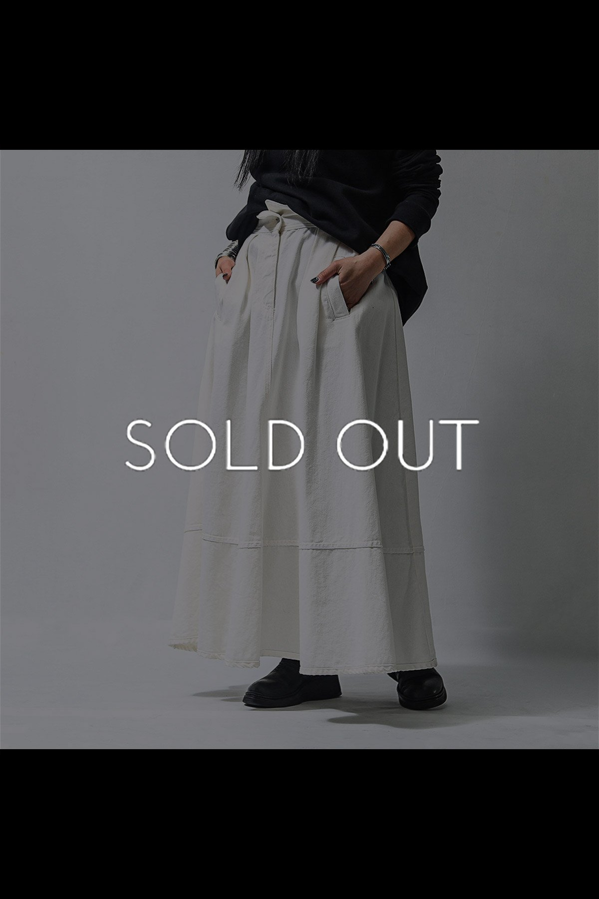 FLARE HIGH WAIST DENIM SKIRT 18WZUC03_WHITE
