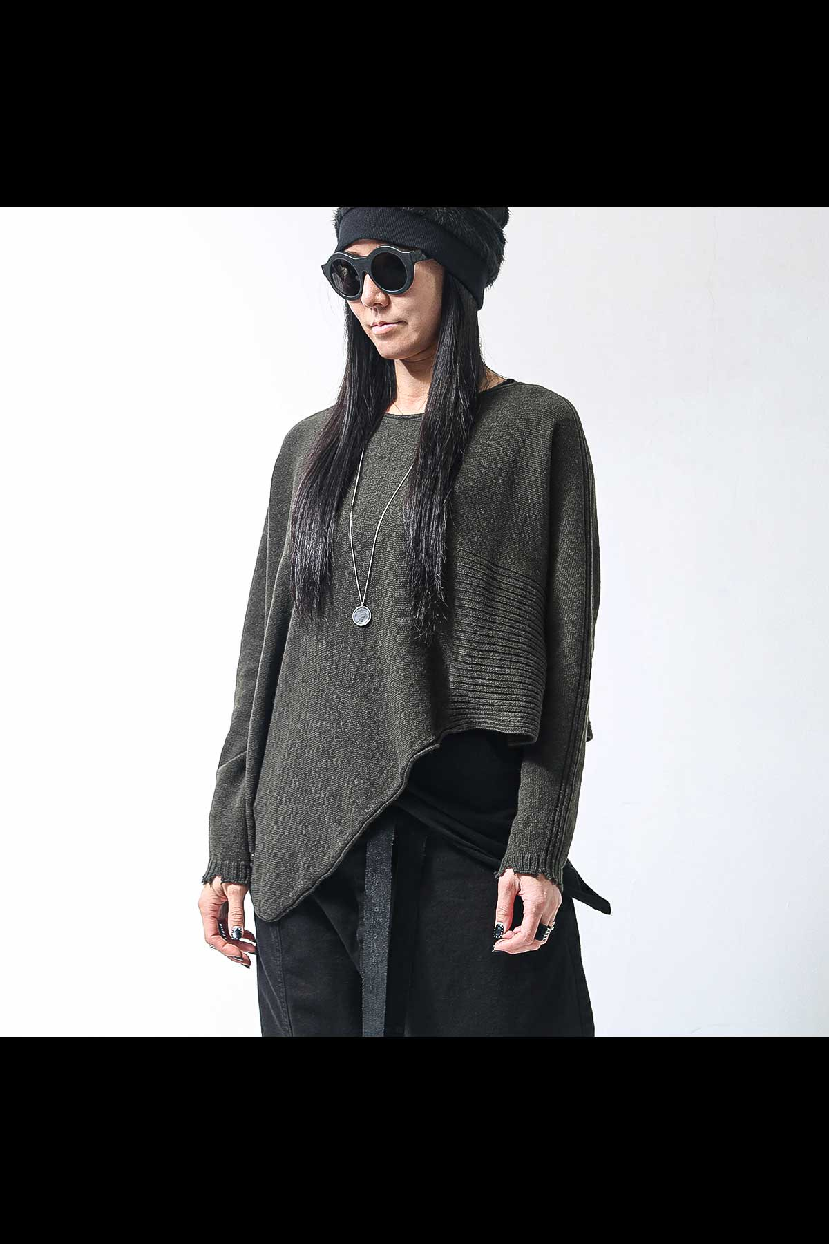 UNISEX ASYMMETRY SHORT KNIT TOPS MD2127_MILITARY
