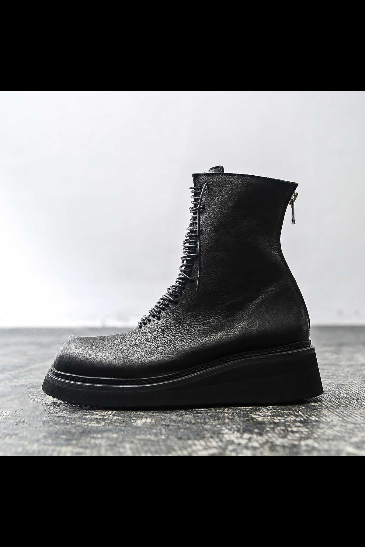 LACE UP COW LEATHER BOOTS PQ03F_BLACK