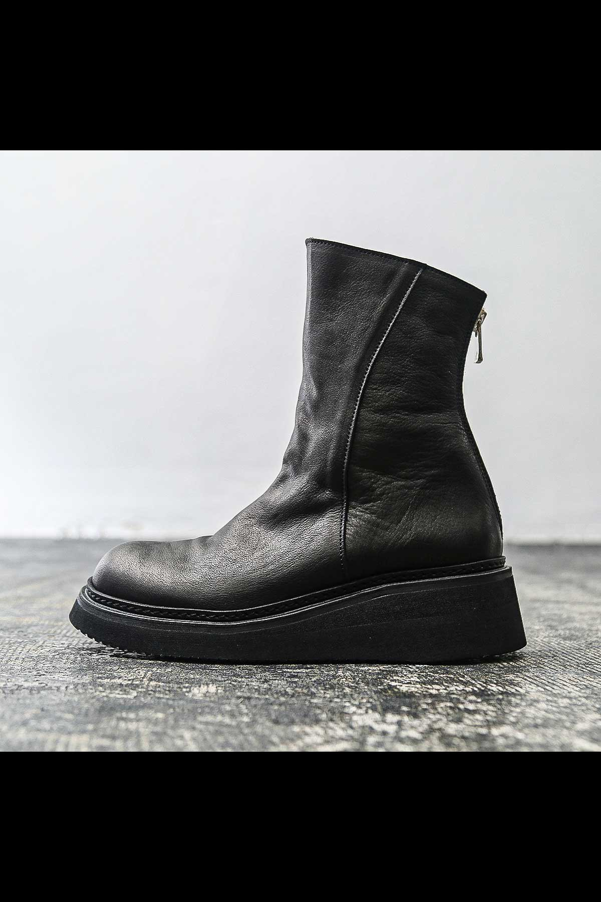 FRONT DRAPE COW LEATHER BOOTS PQ01F_BLACK