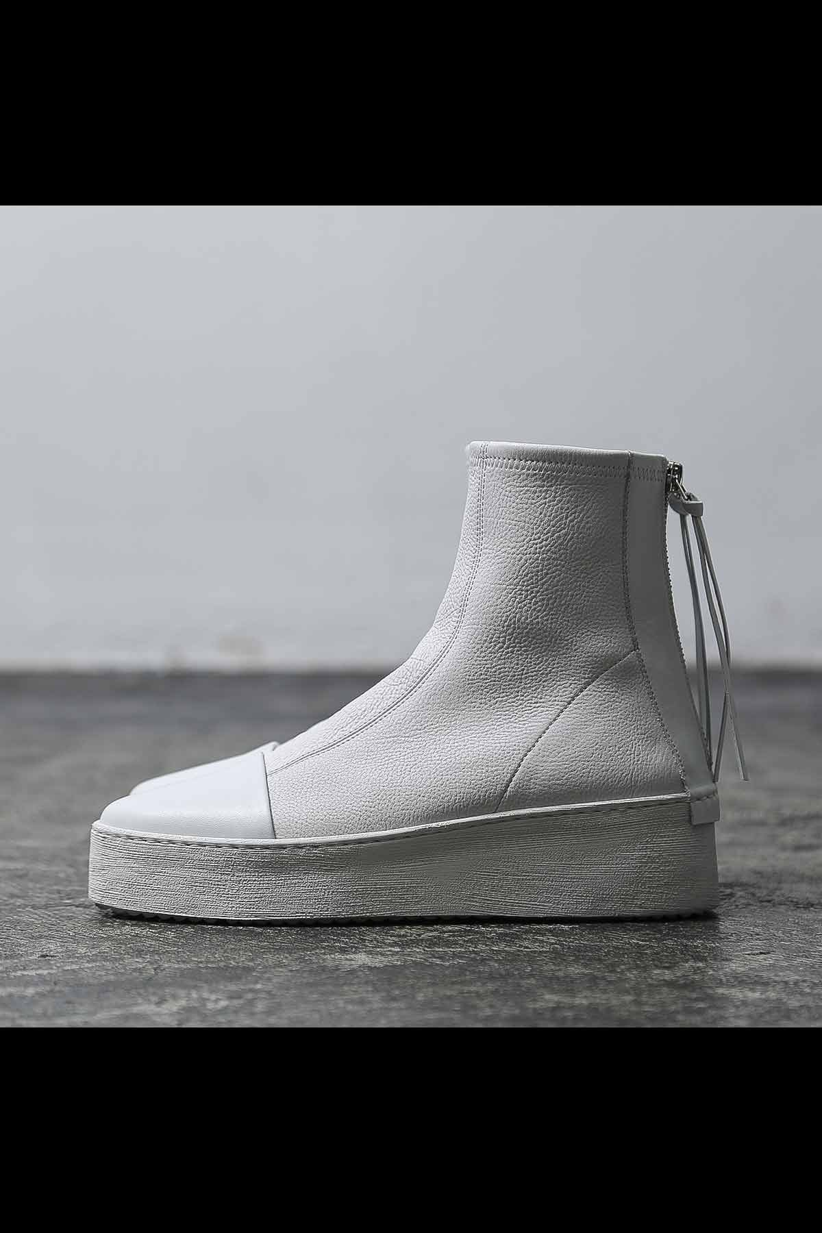 STRETCH LEATHER PLATFORM SNEAKER 4930182_WHITE/WHITE