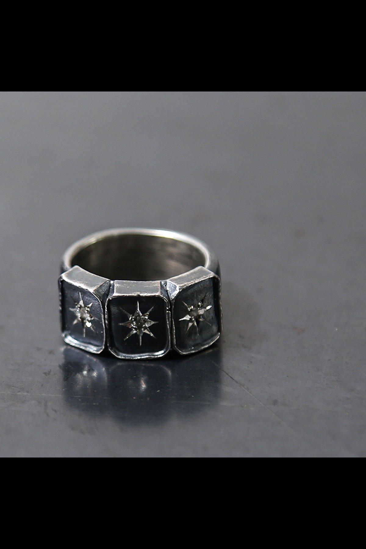 SQUARE DIAMOND RING 120S-PBR_SIL925+DIAMOND