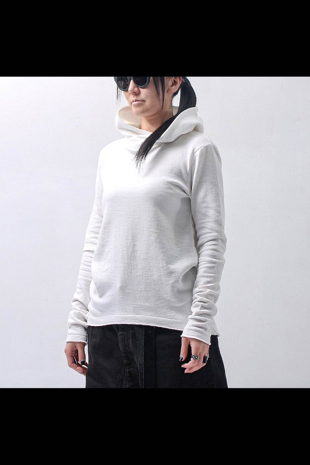 UNISEX W FACE COTTON HOODIE TOP 140QK01_WHITE