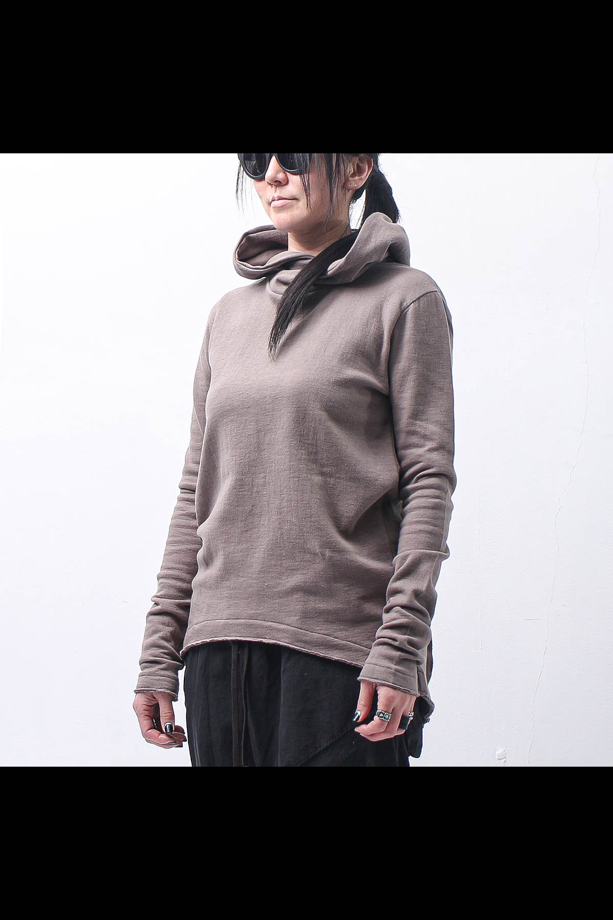 UNISEX W FACE COTTON HOODIE TOP 140QK01_GREY TAUPE