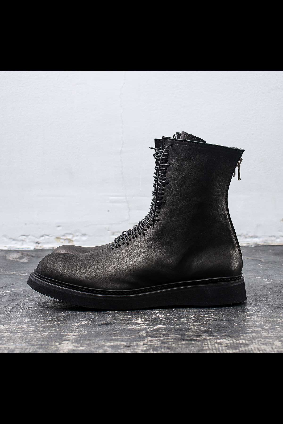 LACE UP COW LEATHER BOOTS PQ03M_BLACK