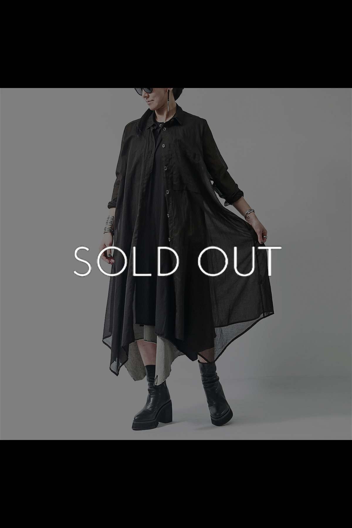 ASYMMETRY LONG SHIRT DRESS  239CS_BLACK