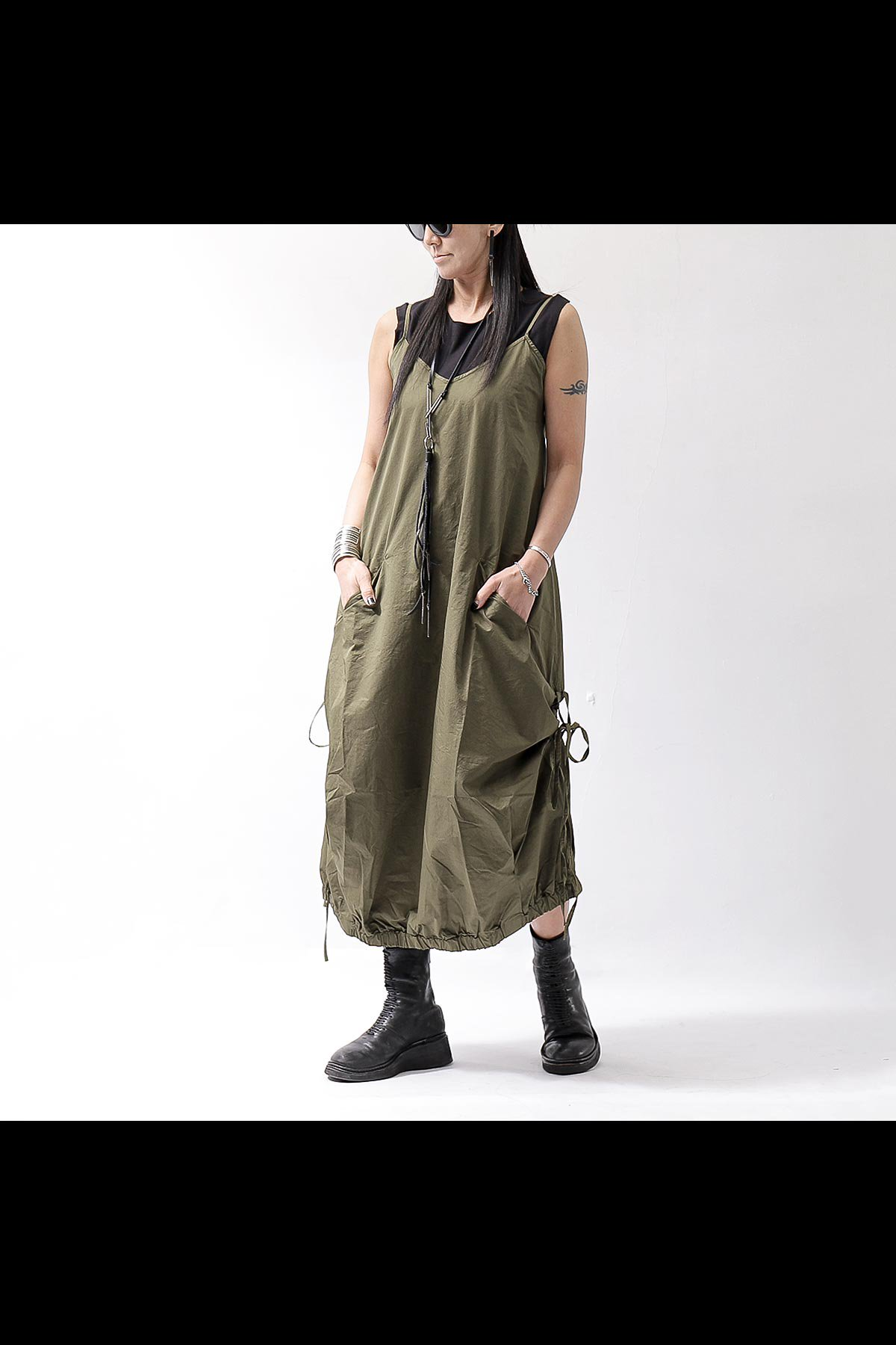 STRAP COCOON LONG DRESS VAR75_MILITARY