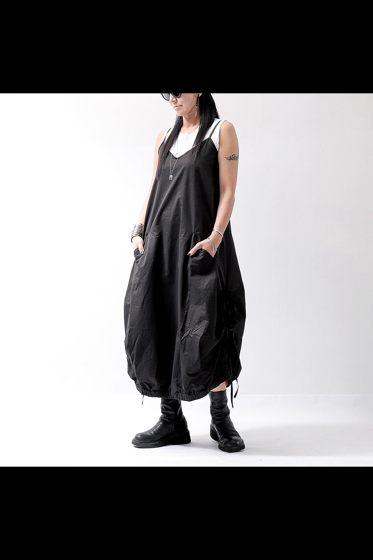 STRAP COCOON LONG DRESS VAR75_BLACK