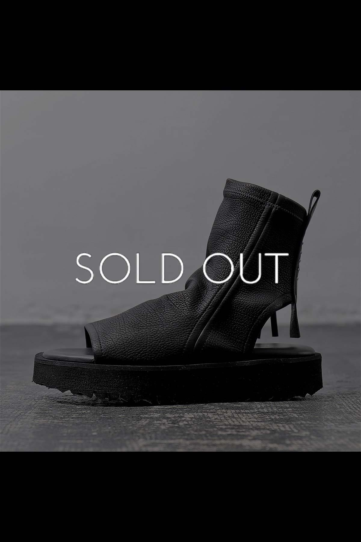 STRETCH LEATHER BOOTS SANDAL 99240_BLACK