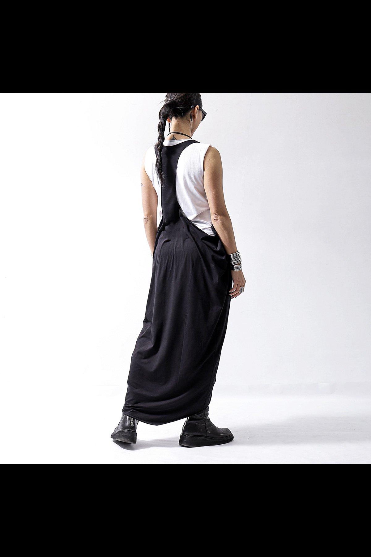 LONG TANK COCOON DRESS D62_BLACK