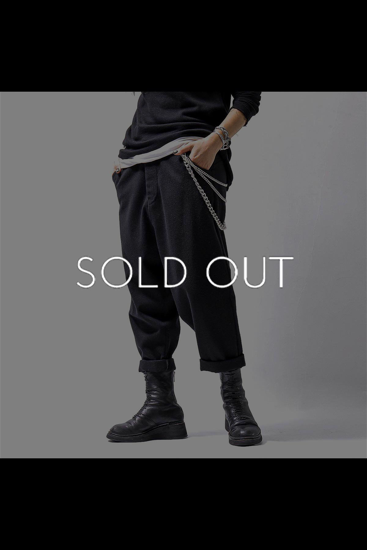<img class='new_mark_img1' src='https://img.shop-pro.jp/img/new/icons56.gif' style='border:none;display:inline;margin:0px;padding:0px;width:auto;' />UNISEX LOW CROTCH WOOL PANTS P30_BLACK