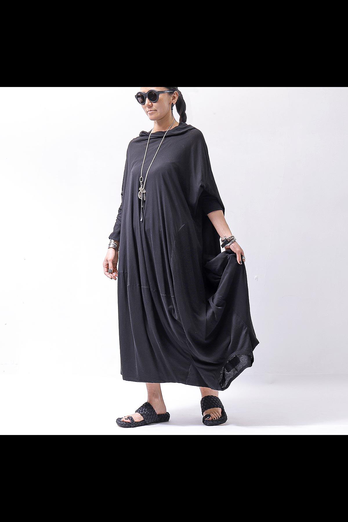 FRONT BACK DRAPE DRESS 252 0905_BLACK