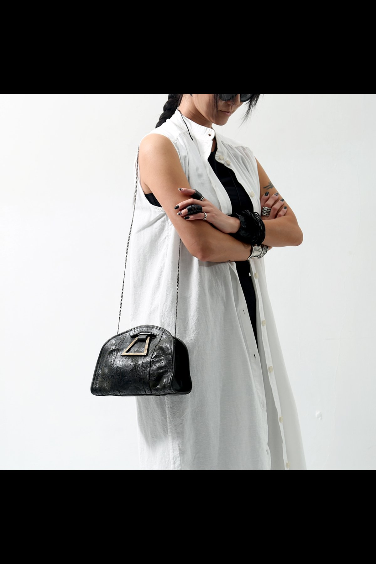 2WAY LEATHER CLUTCH BAG PicASFALTO_BLACK