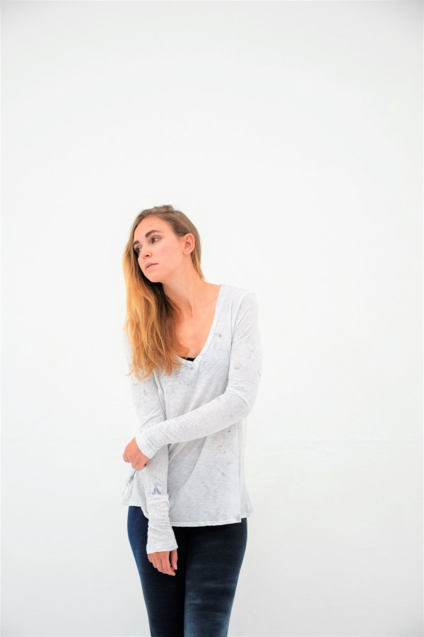 A-Line Long Sleeve V neck T [SLUB25-SMA2]
