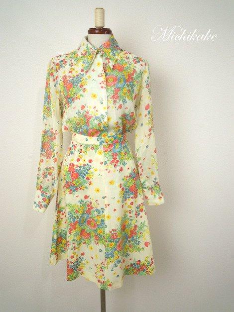 """1970's 花柄 シフォン ツーピース ドレス """"ブラウス×スカート"""""""