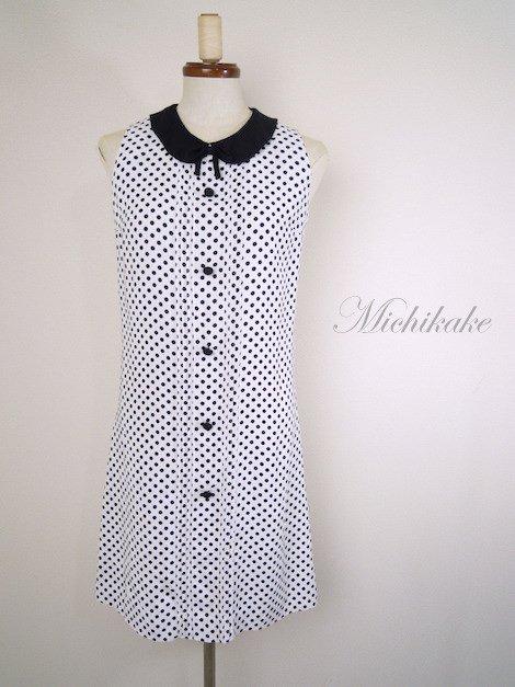 """1960's 水玉 台形ミニ ワンピース ドレス """"ホワイト×ブラック"""