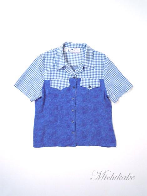 1970's ヴィンテージ 半袖 チェック柄 切り替え シャツ