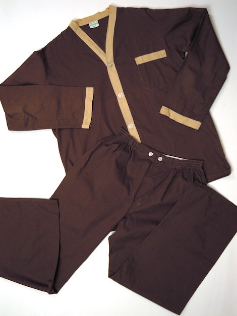 1980's ブラウン ヴィンテージスリーピングシャツ & パンツ セットアップ
