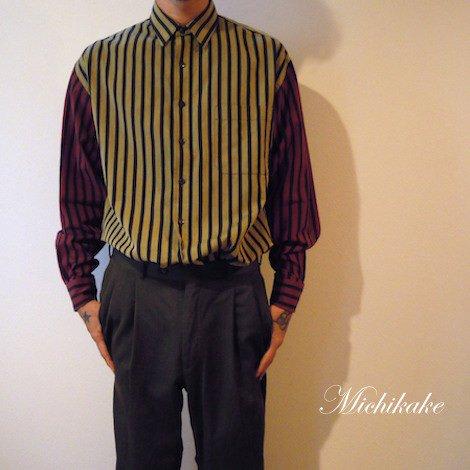 【KENZO】切り返しストライプシャツ マスタードイエロー×レッド