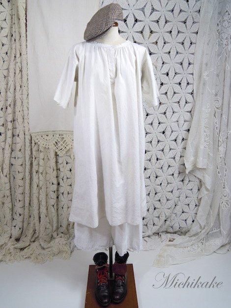フランス アンティーク リネン スモック ワンピース ドレス