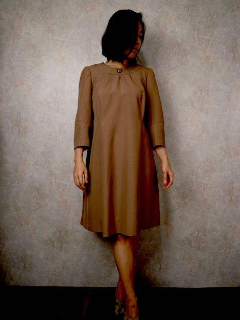 """1960's ヴィンテージ 七分袖 ワンピース ドレス """"ブラウン"""""""