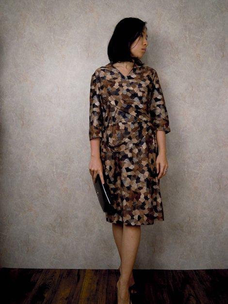 1950's-1960's 七分袖 木目モザイク柄 タイト クチュール ドレス